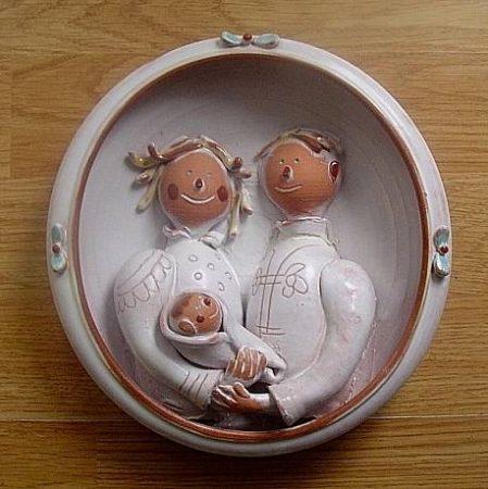 Kerámia családi kép  kisbabával